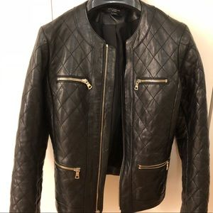 Genuine Leather Jacket with Gold Zippers XS